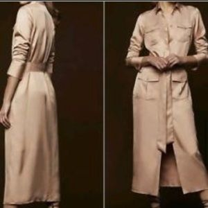 NWT Zara Woman Studio nude long shirt dress size M